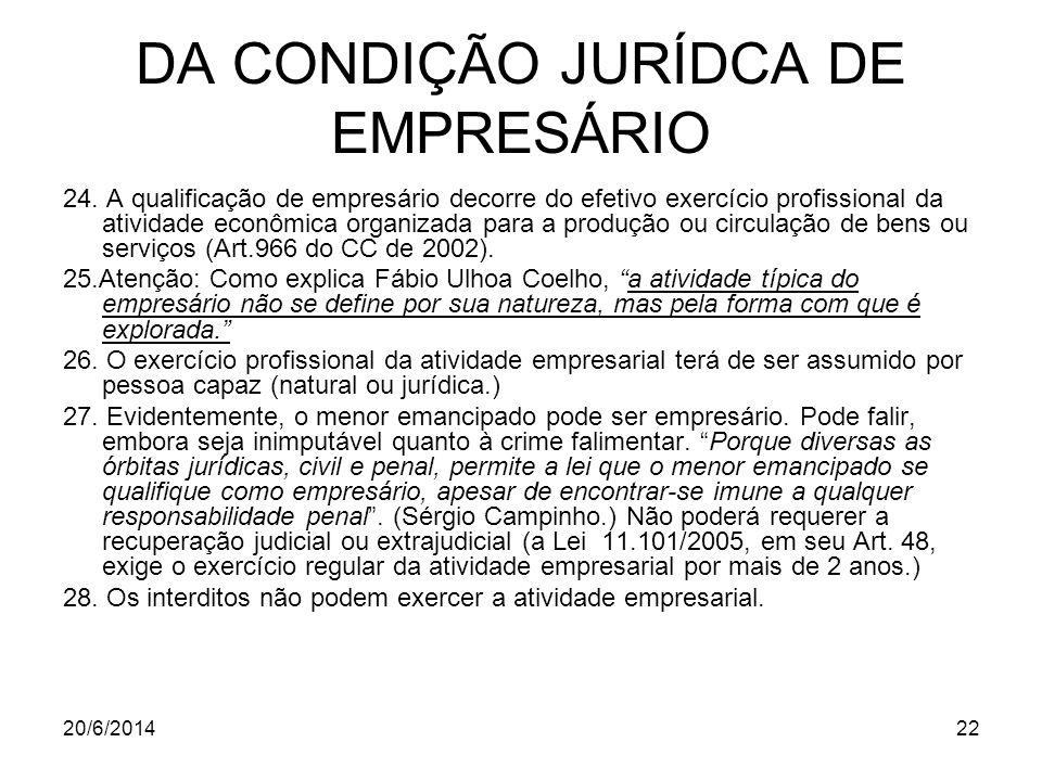 DA CONDIÇÃO JURÍDCA DE EMPRESÁRIO