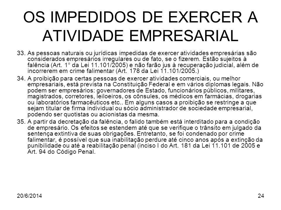 OS IMPEDIDOS DE EXERCER A ATIVIDADE EMPRESARIAL