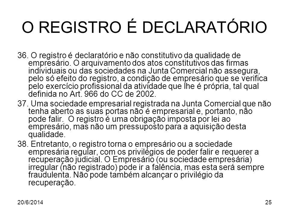 O REGISTRO É DECLARATÓRIO