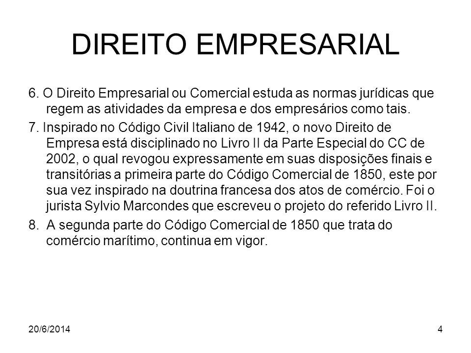 DIREITO EMPRESARIAL 6. O Direito Empresarial ou Comercial estuda as normas jurídicas que regem as atividades da empresa e dos empresários como tais.