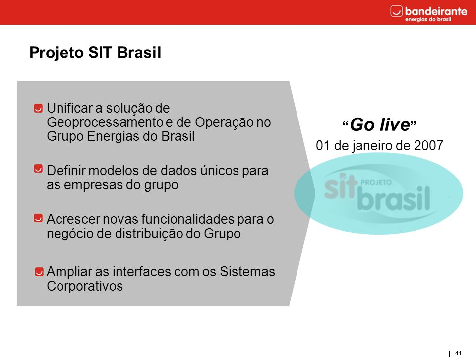 Projeto SIT Brasil Unificar a solução de Geoprocessamento e de Operação no Grupo Energias do Brasil.