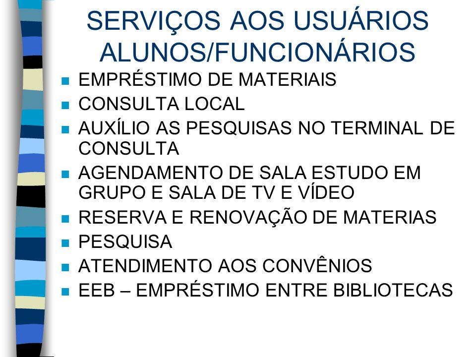 SERVIÇOS AOS USUÁRIOS ALUNOS/FUNCIONÁRIOS