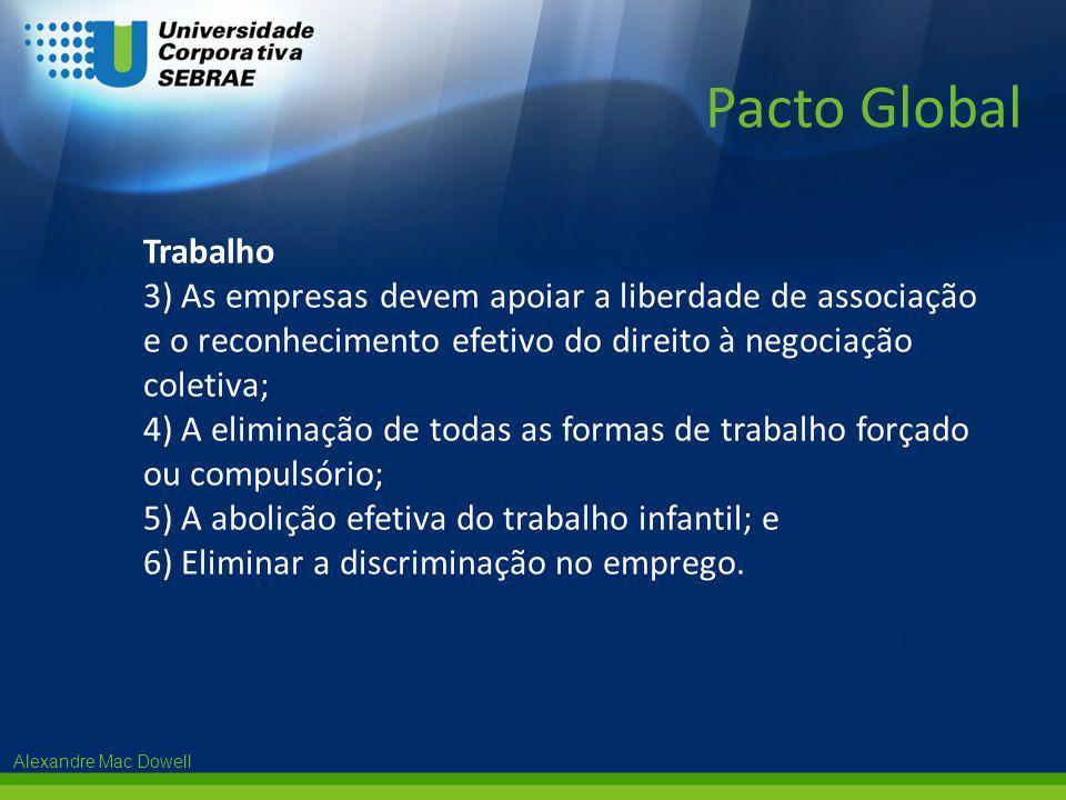 Pacto Global Trabalho. 3) As empresas devem apoiar a liberdade de associação e o reconhecimento efetivo do direito à negociação coletiva;