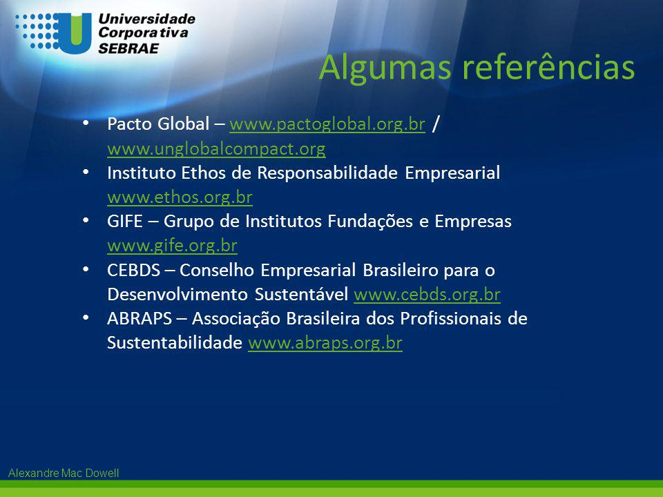 Algumas referências Pacto Global – www.pactoglobal.org.br / www.unglobalcompact.org.