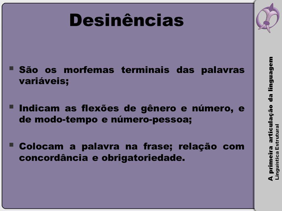 Desinências São os morfemas terminais das palavras variáveis;