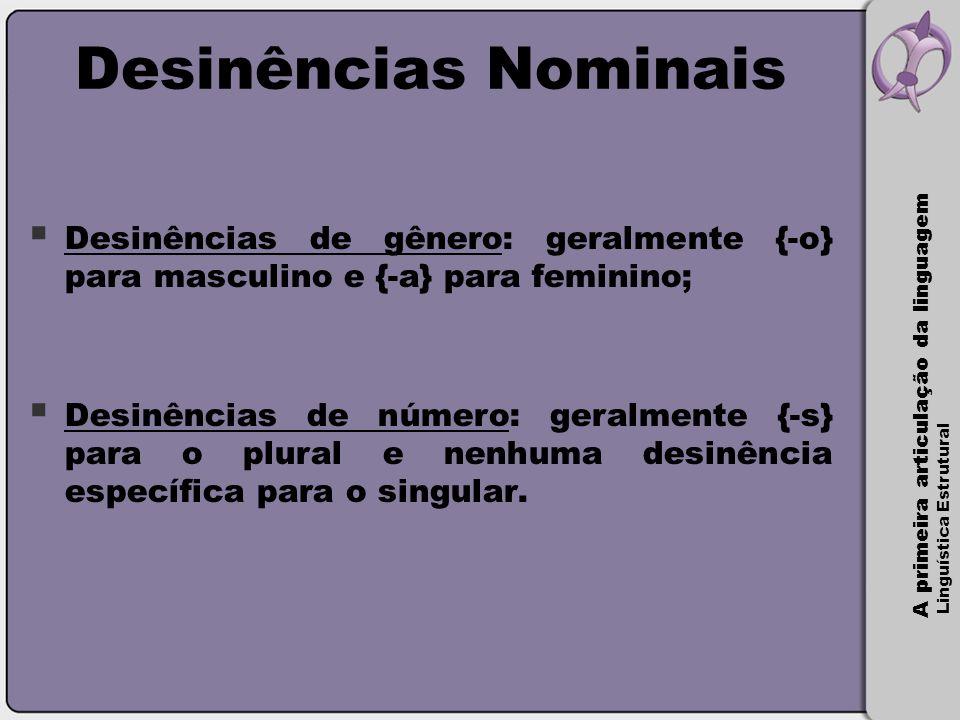 Desinências Nominais Desinências de gênero: geralmente {-o} para masculino e {-a} para feminino;