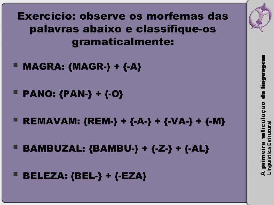 Exercício: observe os morfemas das palavras abaixo e classifique-os gramaticalmente: