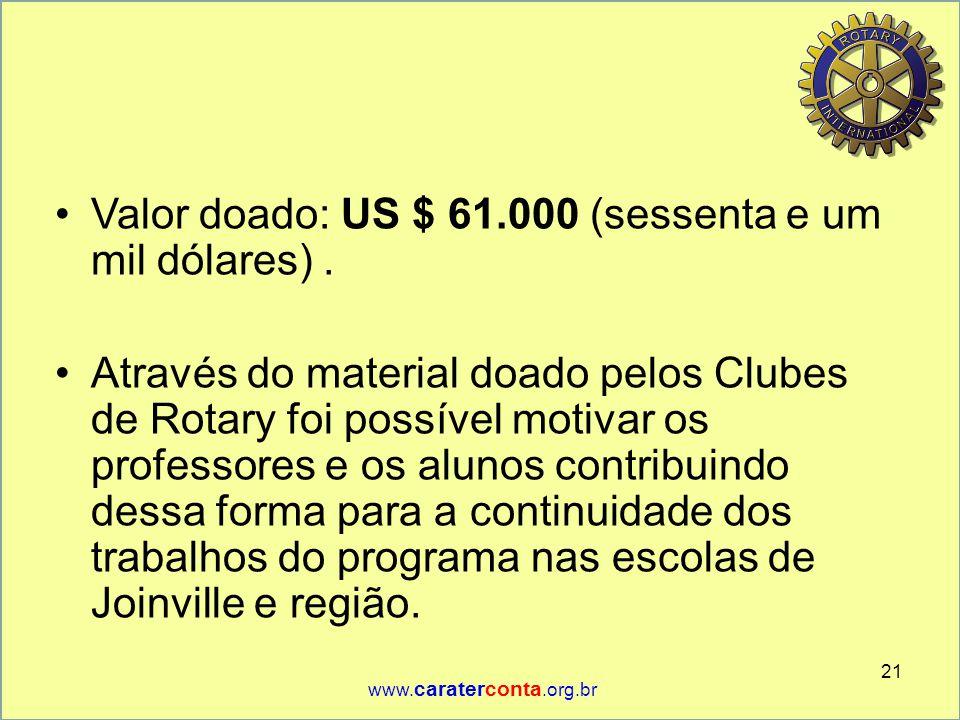 Valor doado: US $ 61.000 (sessenta e um mil dólares) .