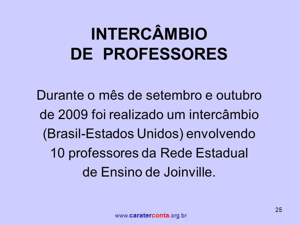 INTERCÂMBIO DE PROFESSORES