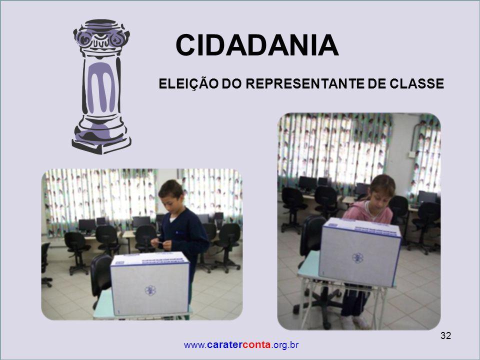 CIDADANIA ELEIÇÃO DO REPRESENTANTE DE CLASSE www.caraterconta.org.br