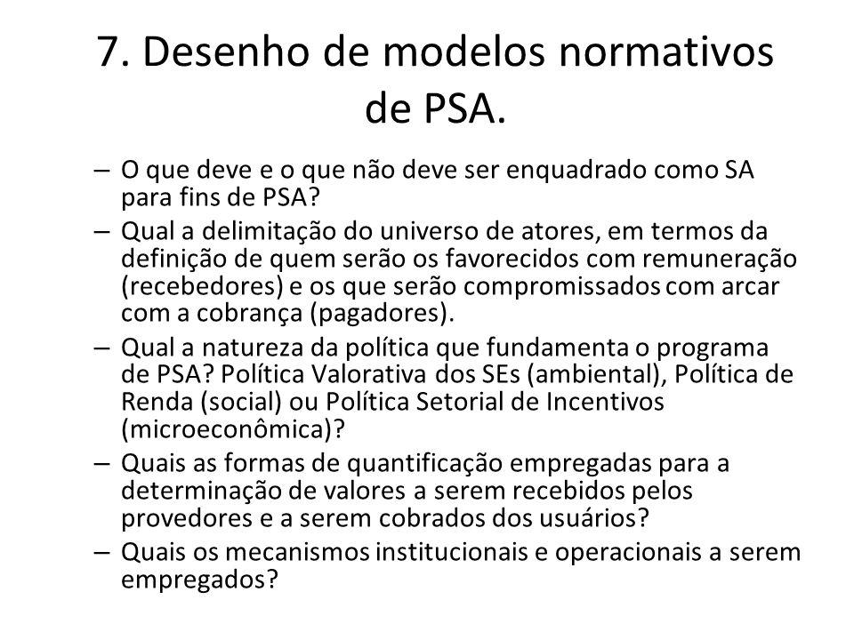 7. Desenho de modelos normativos de PSA.