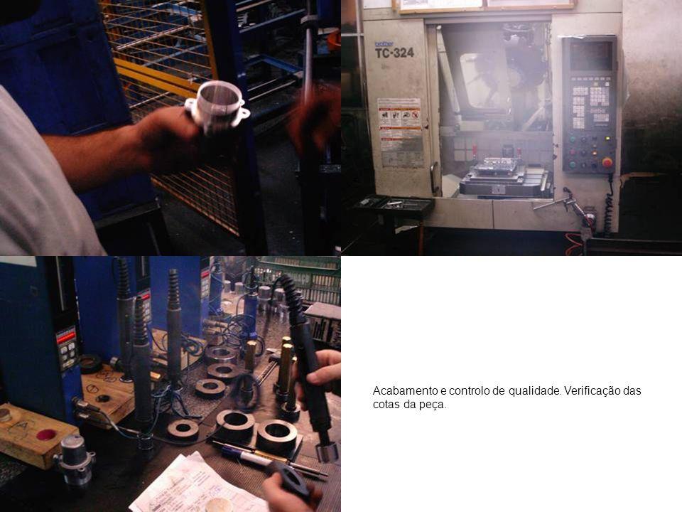 Acabamento e controlo de qualidade. Verificação das cotas da peça.