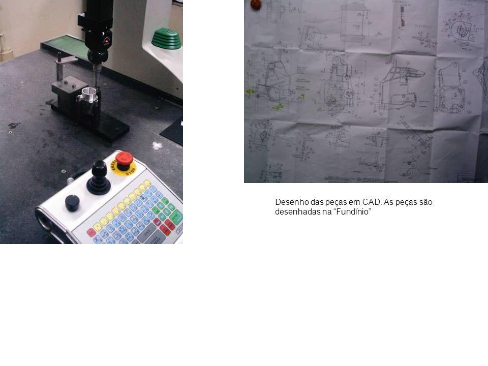 Desenho das peças em CAD. As peças são desenhadas na Fundínio