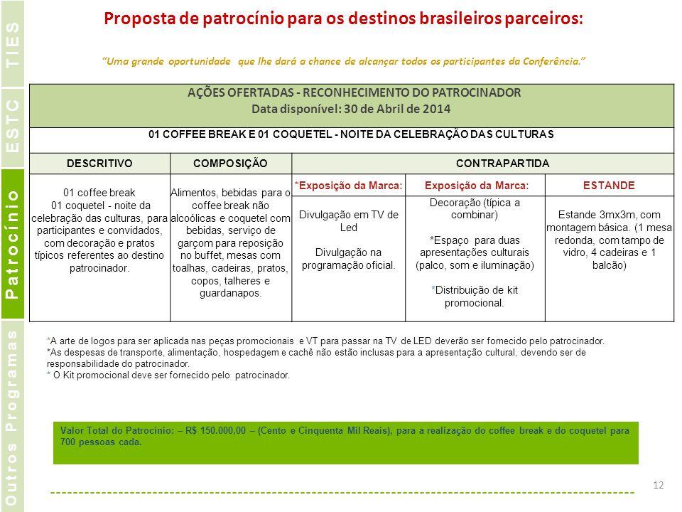 Proposta de patrocínio para os destinos brasileiros parceiros: