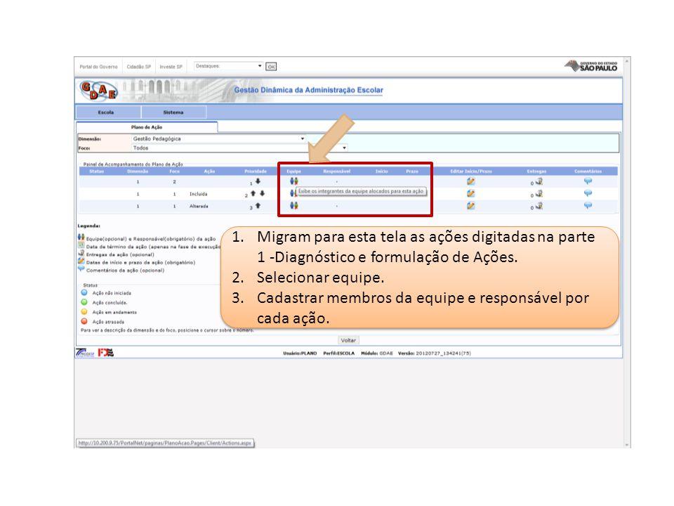 Migram para esta tela as ações digitadas na parte 1 -Diagnóstico e formulação de Ações.