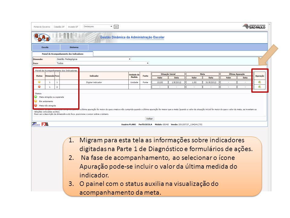 Migram para esta tela as informações sobre indicadores digitadas na Parte 1 de Diagnóstico e formulários de ações.