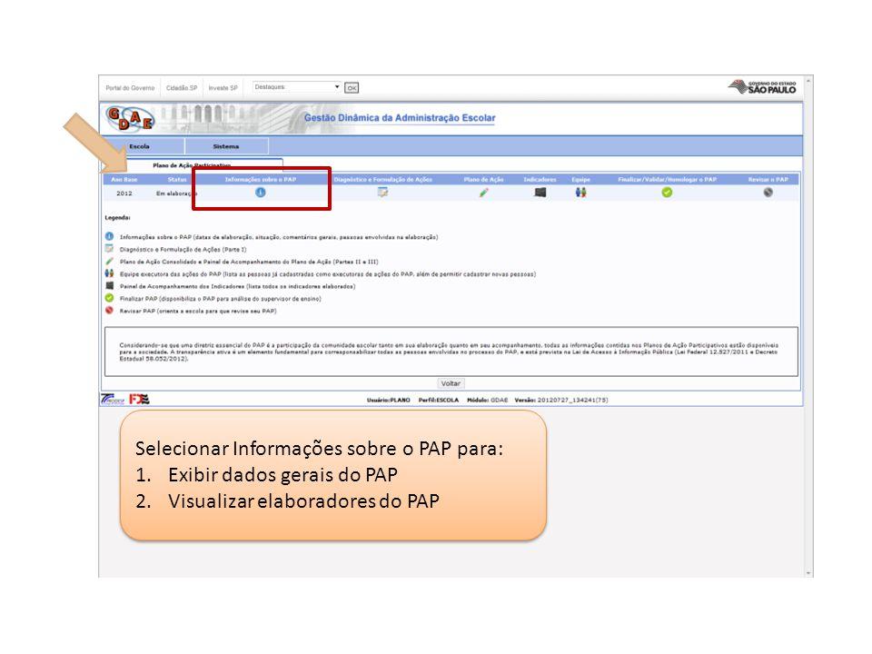 Selecionar Informações sobre o PAP para: