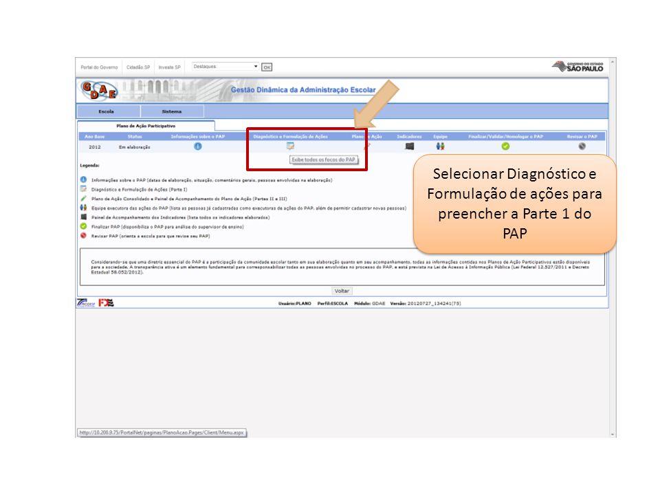 Selecionar Diagnóstico e Formulação de ações para preencher a Parte 1 do PAP