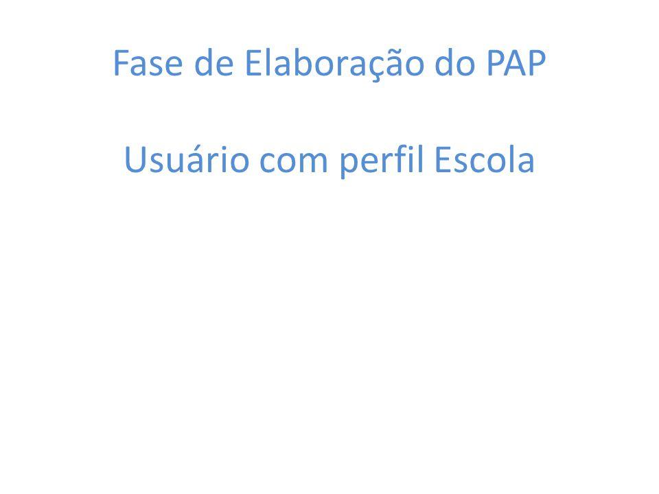 Fase de Elaboração do PAP Usuário com perfil Escola