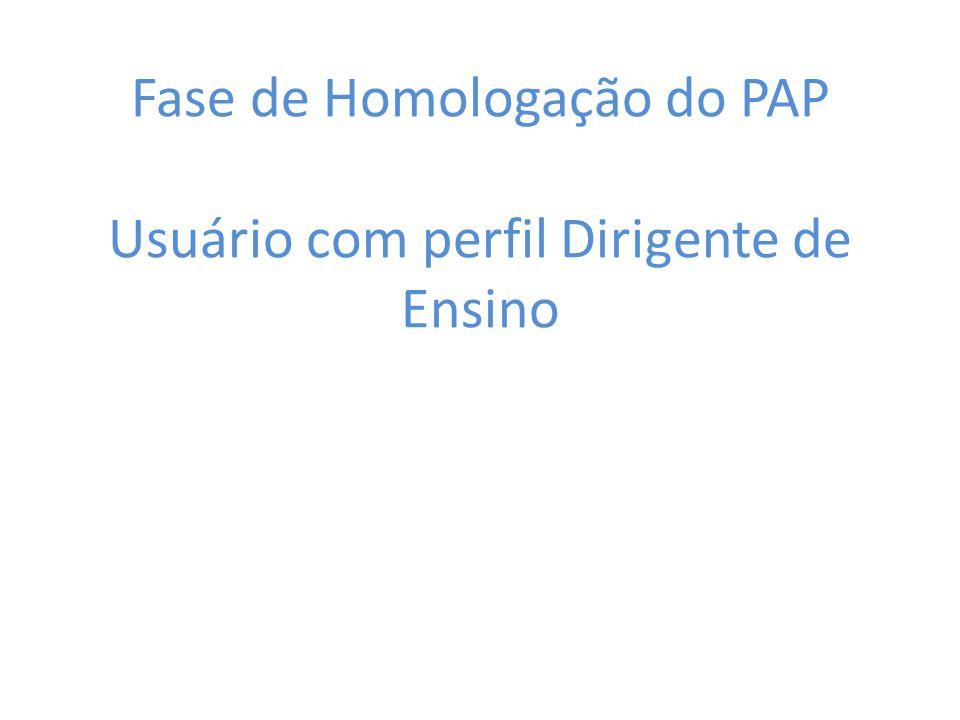 Fase de Homologação do PAP Usuário com perfil Dirigente de Ensino