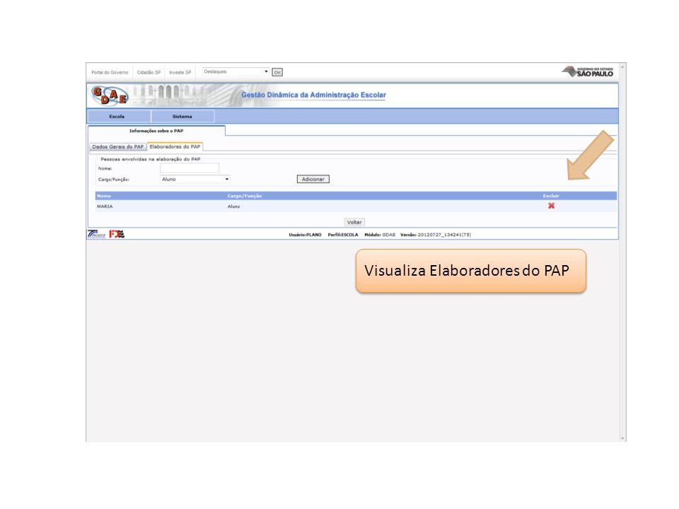 Visualiza Elaboradores do PAP