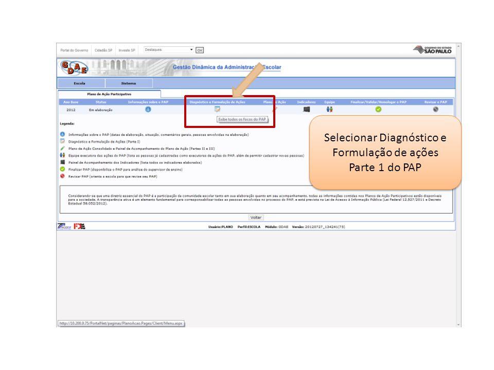 Selecionar Diagnóstico e Formulação de ações Parte 1 do PAP