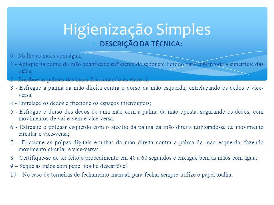 Higienização Simples DESCRIÇÃO DA TÉCNICA: 0 - Molhe as mãos com água;