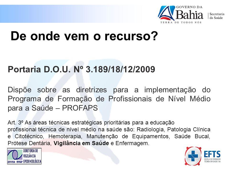 De onde vem o recurso Portaria D.O.U. Nº 3.189/18/12/2009