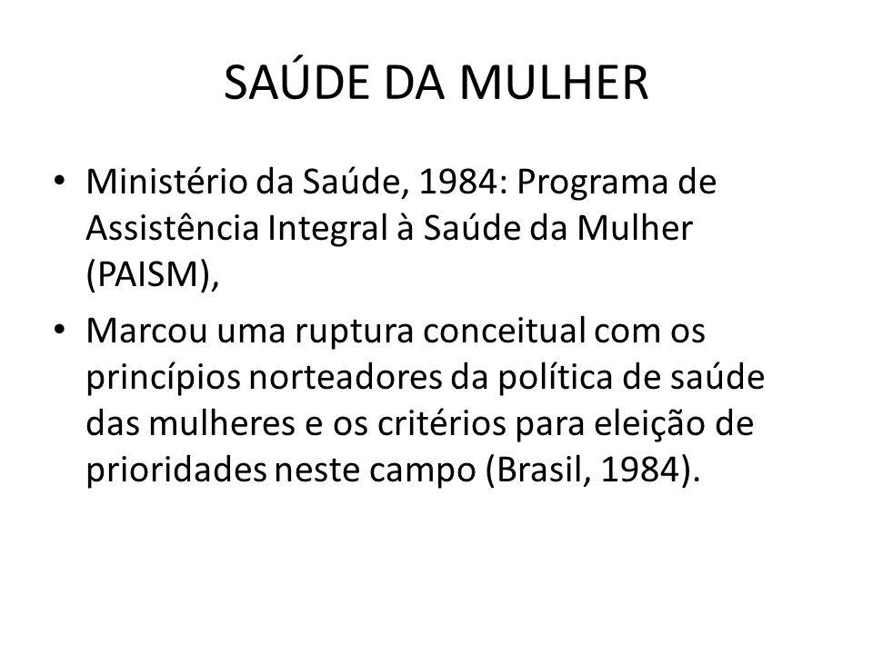 SAÚDE DA MULHER Ministério da Saúde, 1984: Programa de Assistência Integral à Saúde da Mulher (PAISM),