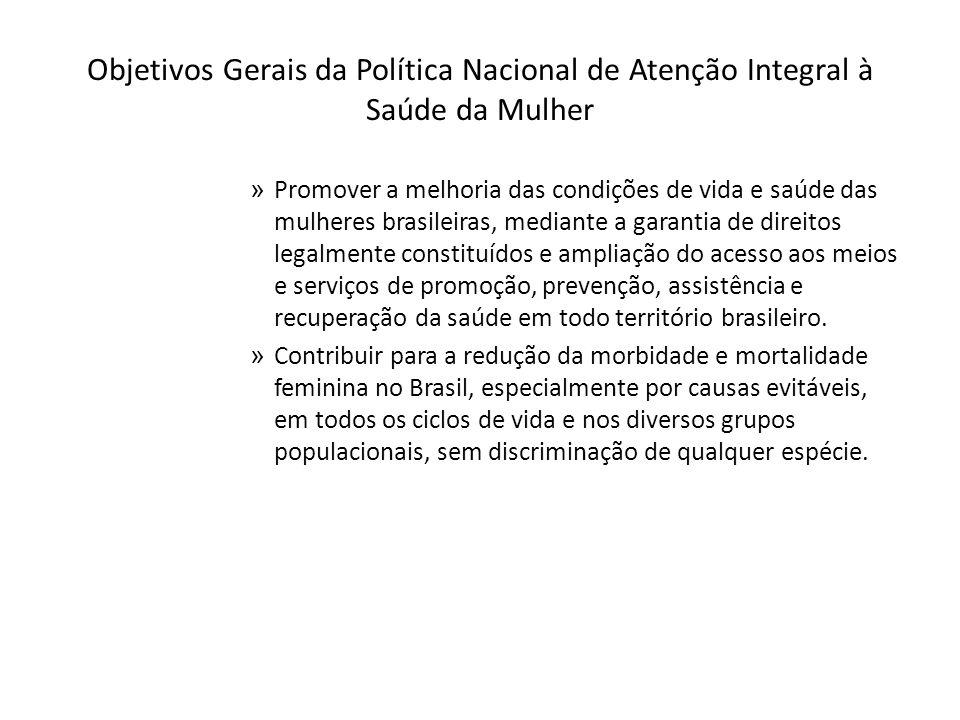 Objetivos Gerais da Política Nacional de Atenção Integral à Saúde da Mulher