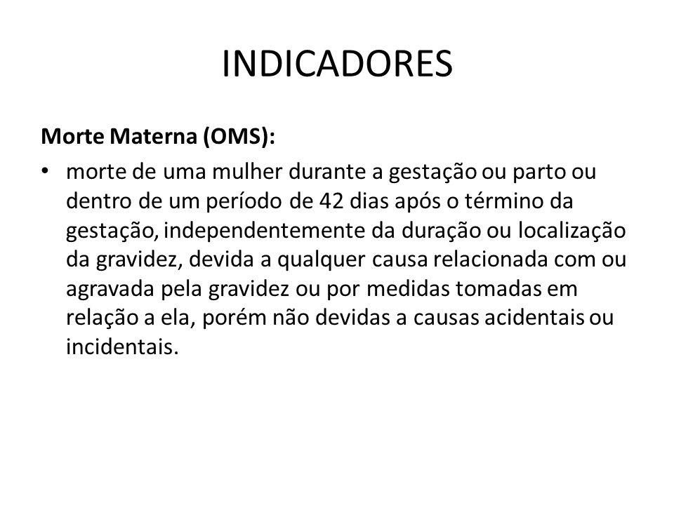 INDICADORES Morte Materna (OMS):