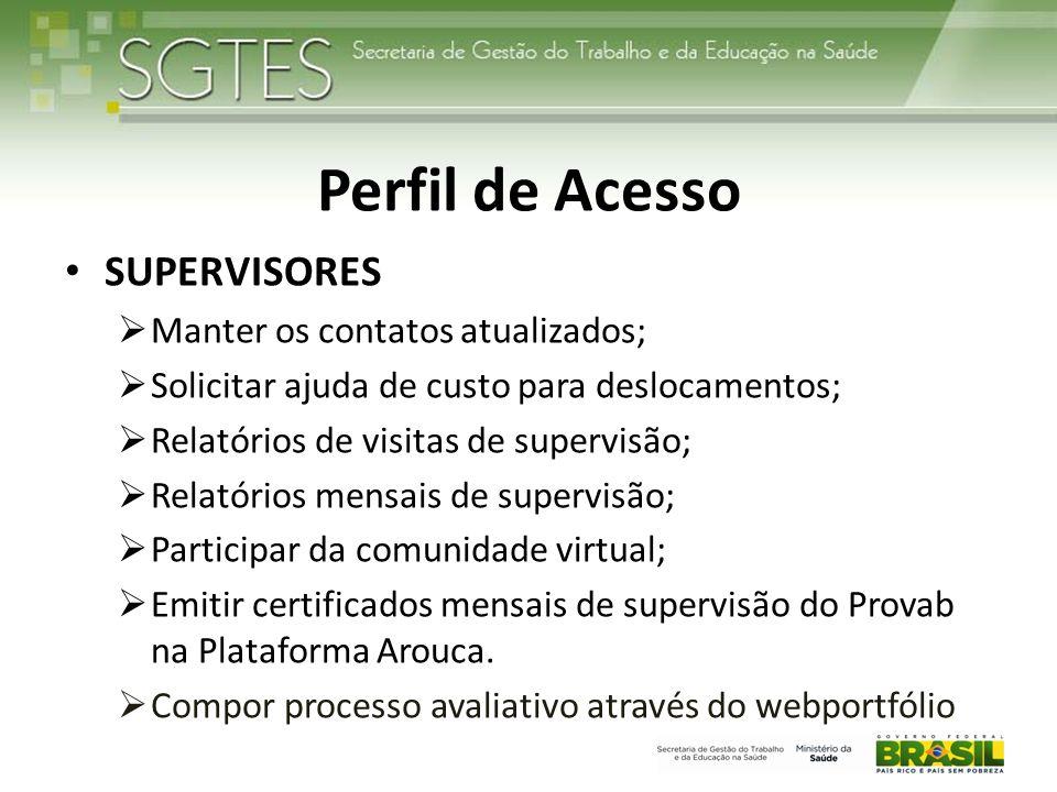 Perfil de Acesso SUPERVISORES Manter os contatos atualizados;