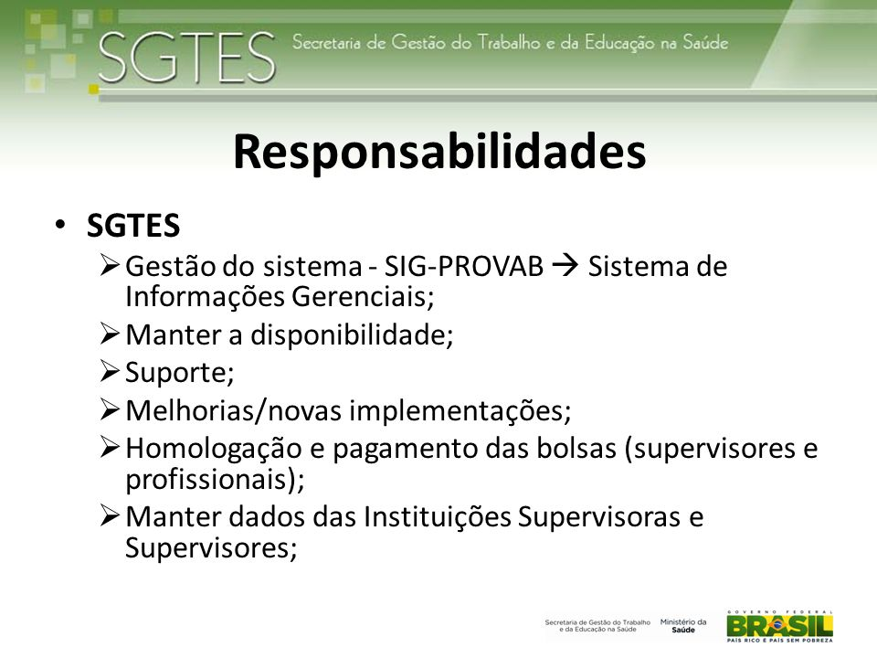 Responsabilidades SGTES