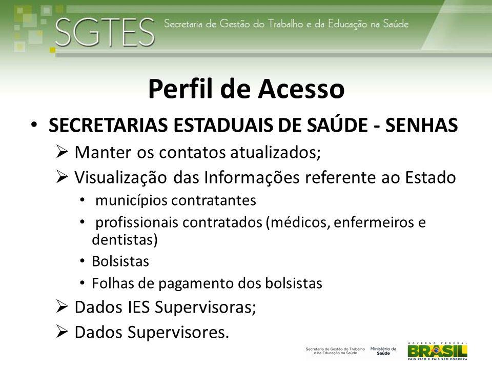 Perfil de Acesso SECRETARIAS ESTADUAIS DE SAÚDE - SENHAS