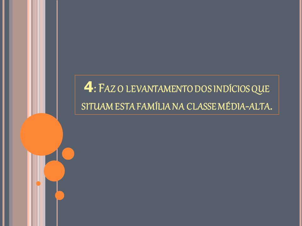 4: Faz o levantamento dos indícios que situam esta família na classe média-alta.