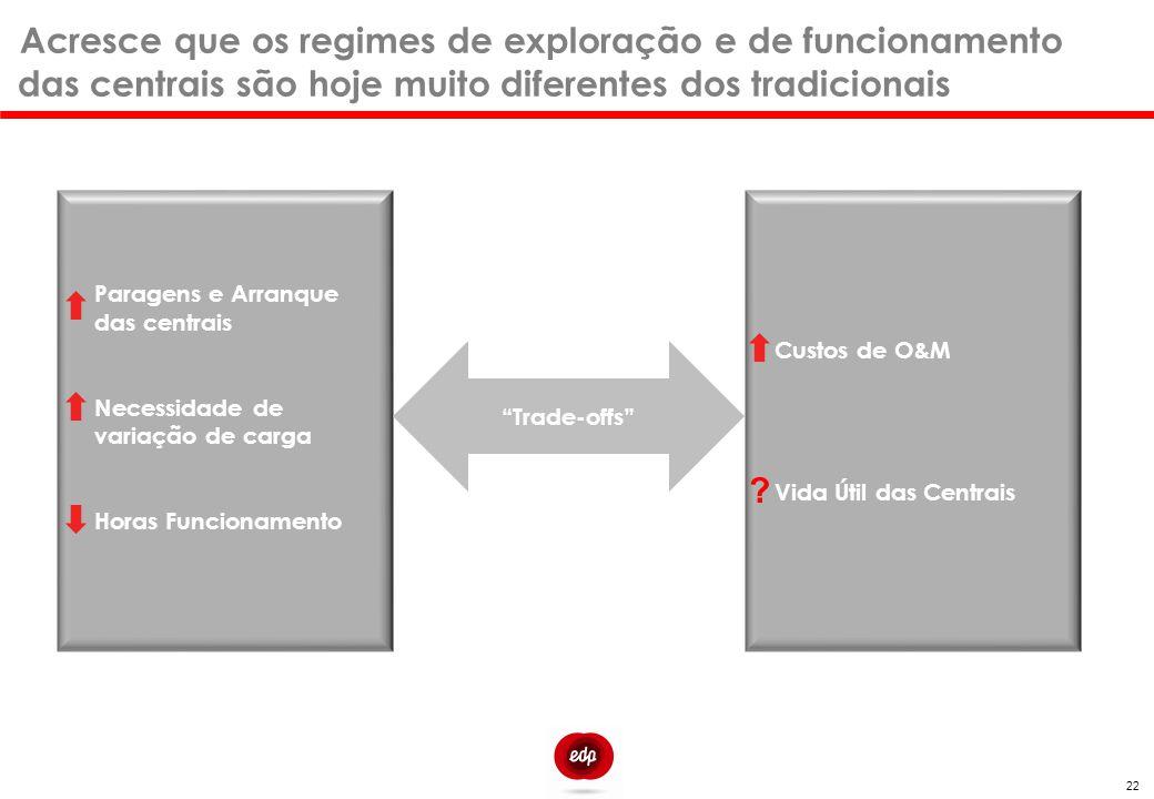 Acresce que os regimes de exploração e de funcionamento das centrais são hoje muito diferentes dos tradicionais