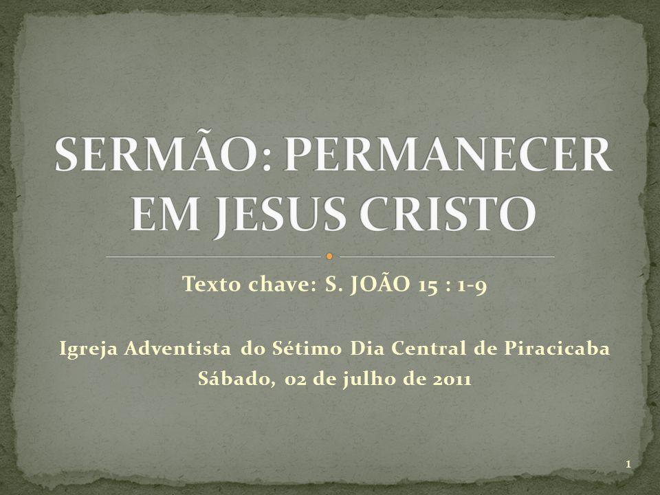 SERMÃO: PERMANECER EM JESUS CRISTO