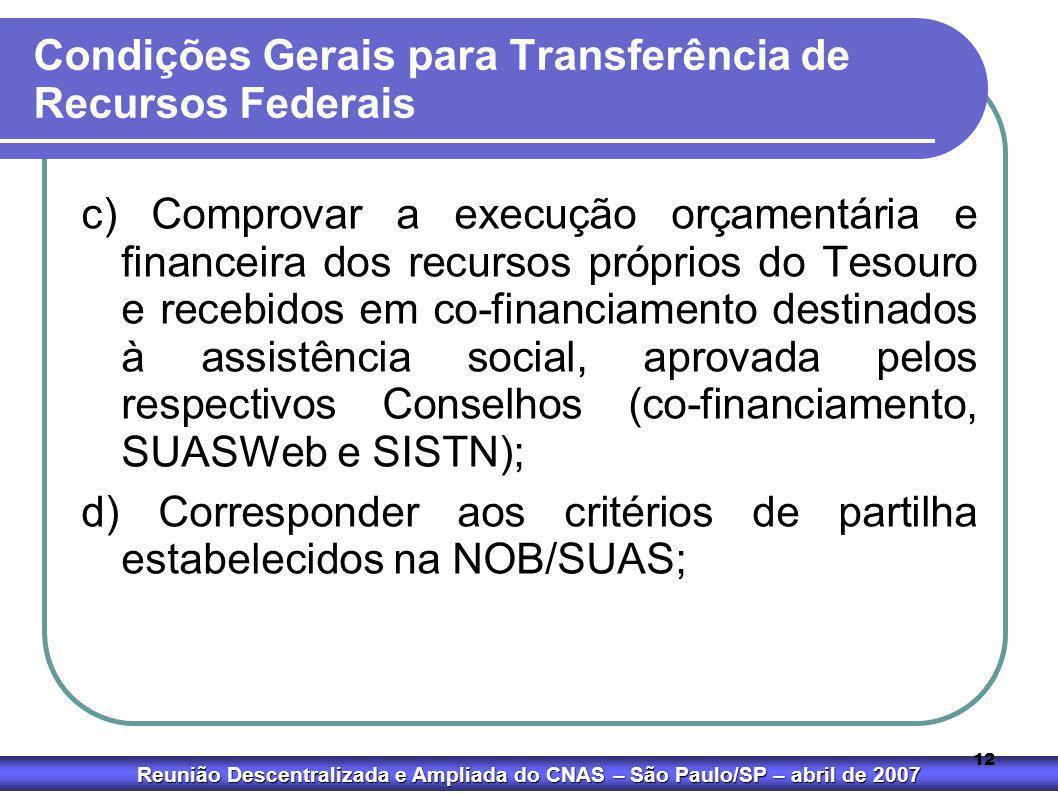 Condições Gerais para Transferência de Recursos Federais