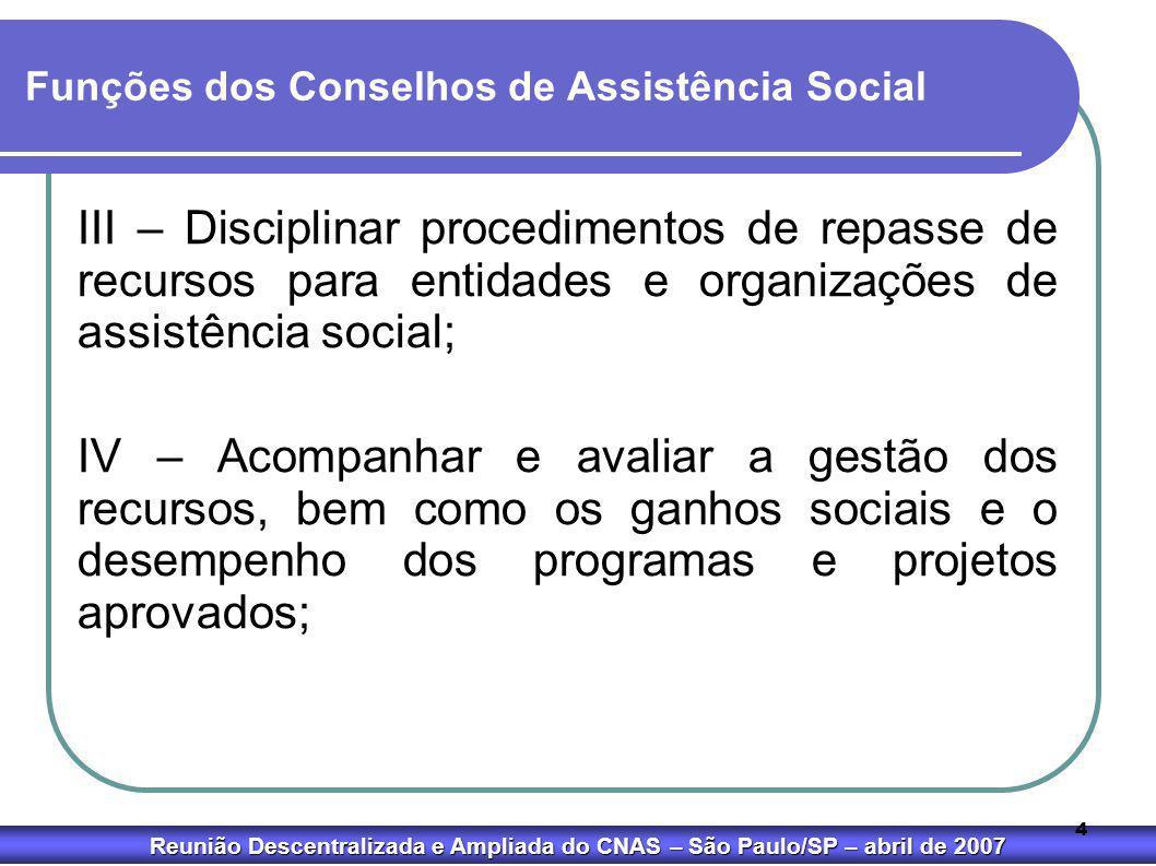 Funções dos Conselhos de Assistência Social