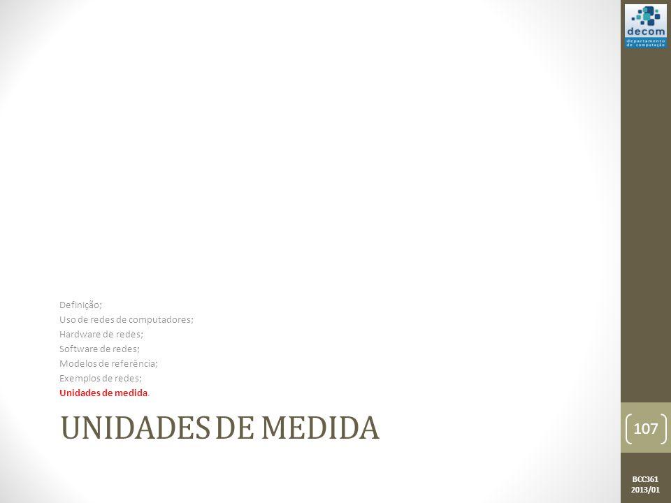 Unidades de Medida PASSAR PARA UNIDADE DE MEDIDAS OU RETIRAR