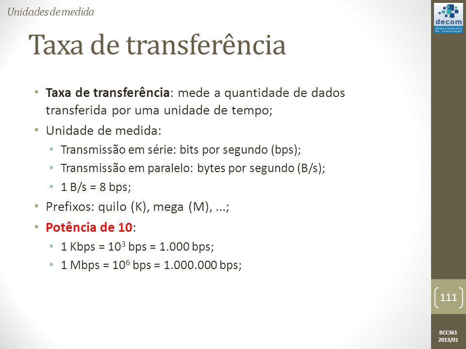 Unidades de medida Taxa de transferência. Taxa de transferência: mede a quantidade de dados transferida por uma unidade de tempo;