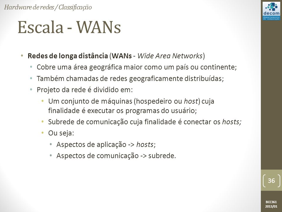 Escala - WANs Redes de longa distância (WANs - Wide Area Networks)