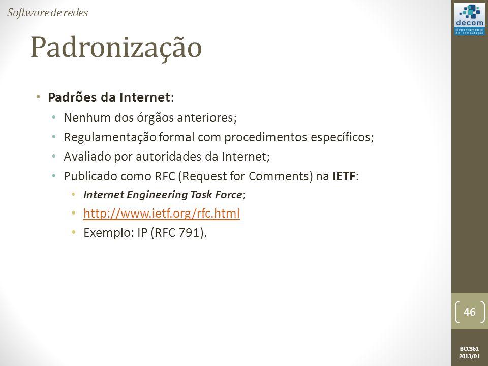 Padronização Padrões da Internet: Nenhum dos órgãos anteriores;