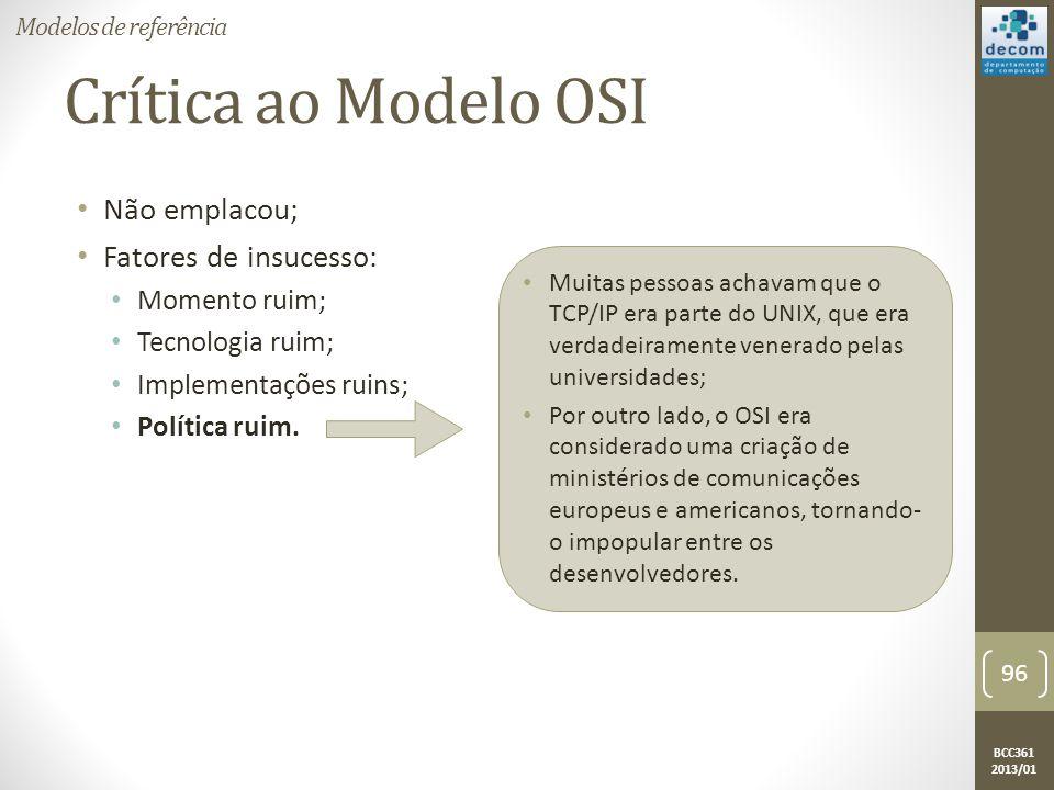 Crítica ao Modelo OSI Não emplacou; Fatores de insucesso: