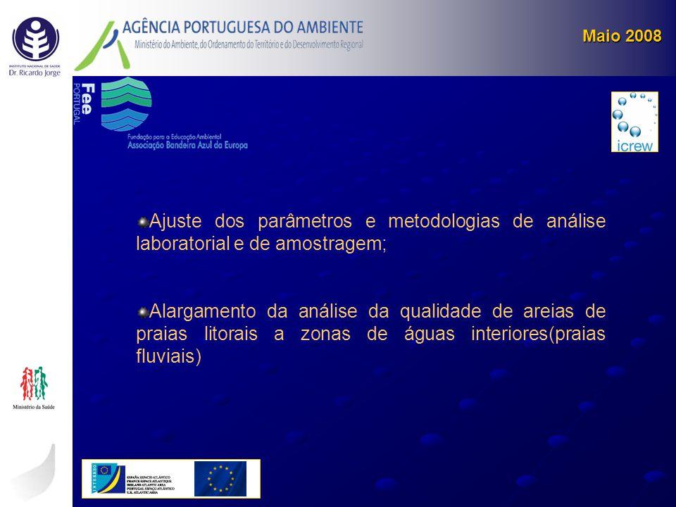 Maio 2008 Ajuste dos parâmetros e metodologias de análise laboratorial e de amostragem;