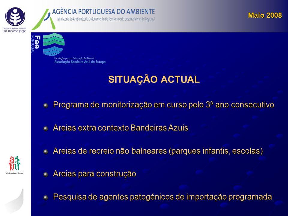 Maio 2008 SITUAÇÃO ACTUAL. Programa de monitorização em curso pelo 3º ano consecutivo. Areias extra contexto Bandeiras Azuis.