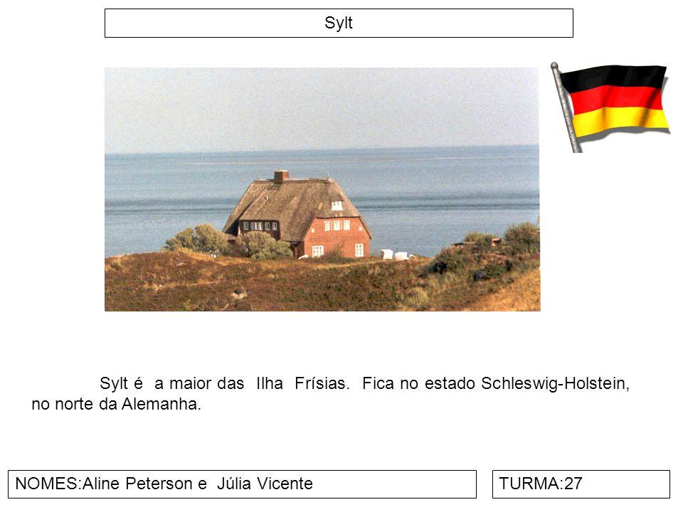 Sylt Sylt é a maior das Ilha Frísias. Fica no estado Schleswig-Holstein, no norte da Alemanha. NOMES:Aline Peterson e Júlia Vicente.