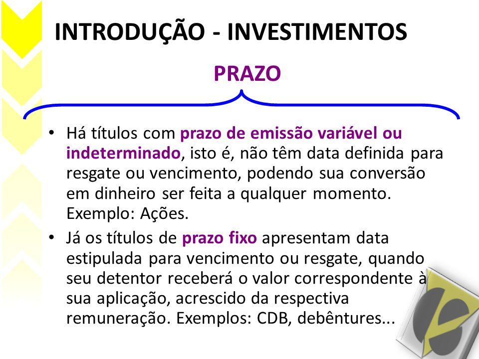 INTRODUÇÃO - INVESTIMENTOS