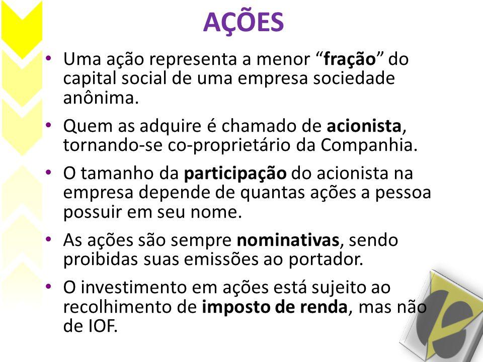 AÇÕES Uma ação representa a menor fração do capital social de uma empresa sociedade anônima.