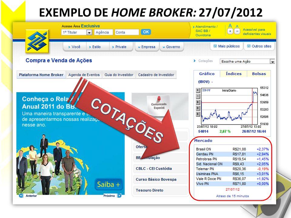 EXEMPLO DE HOME BROKER: 27/07/2012